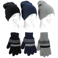 Adult Ribbed Beanie Hats & Magic Gloves Sets